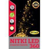 LAMPKI LED 360L ŁEZKI,BIAŁY,WIĄZKI 14SZT/2,5M ZASI