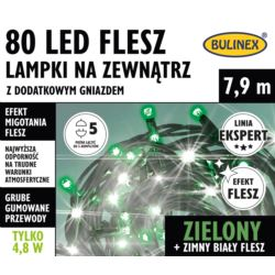 LAMPKI FLESZ LED 80L ZEWN.Z DOD.GNIAZ.ZIELONE