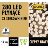 LAMPKI LED 280L PŁYNĄCE Z ZASILACZEM, BIAŁY CIEPŁY