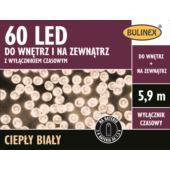 LAMPKI 60 LED NA BATERIE Z WYŁ.CZAS.BIAŁY CIEPŁY